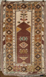 "Turkish Kona Rug is a Tribal prayer design with a very casual look. Simple and strong. hand made of natural wool and dyes. 6'2"" x 3'8"""