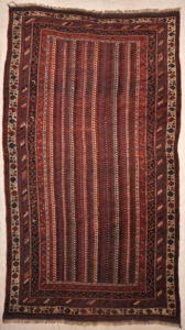 Antique Afshar Rug Circa 1870s. A piece of authentic genuine antique woven carpet art sold by the Santa Barbara Design Center, Rugs and More.