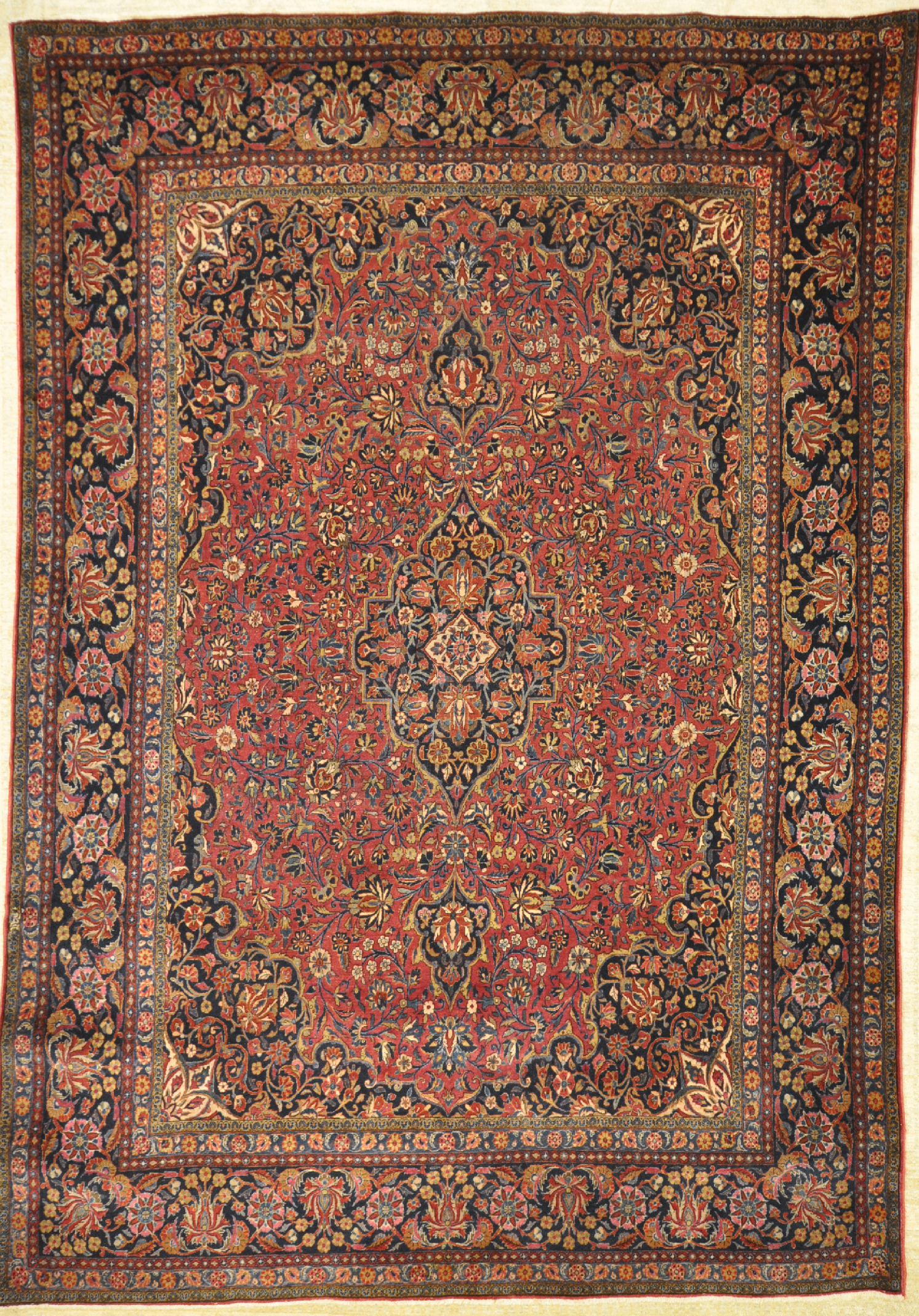 Antique manchester Kashan rug with the softest wool woven in central Persia. Ca. 1880.