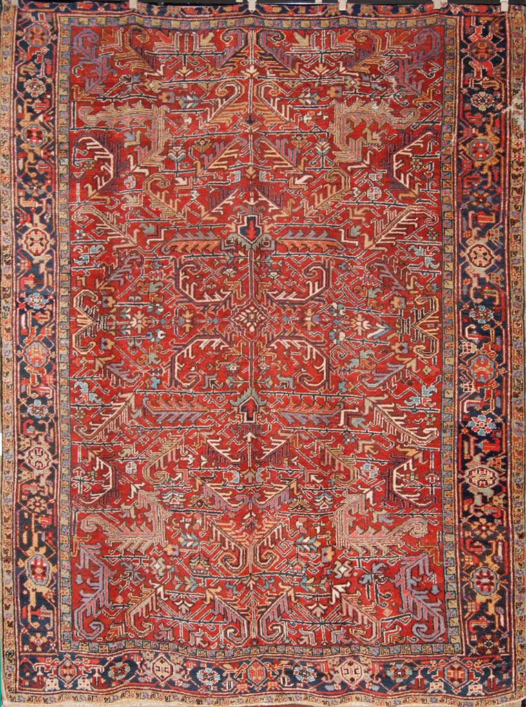 Rare Antique Dragon Serapi Heriz Persian Rug