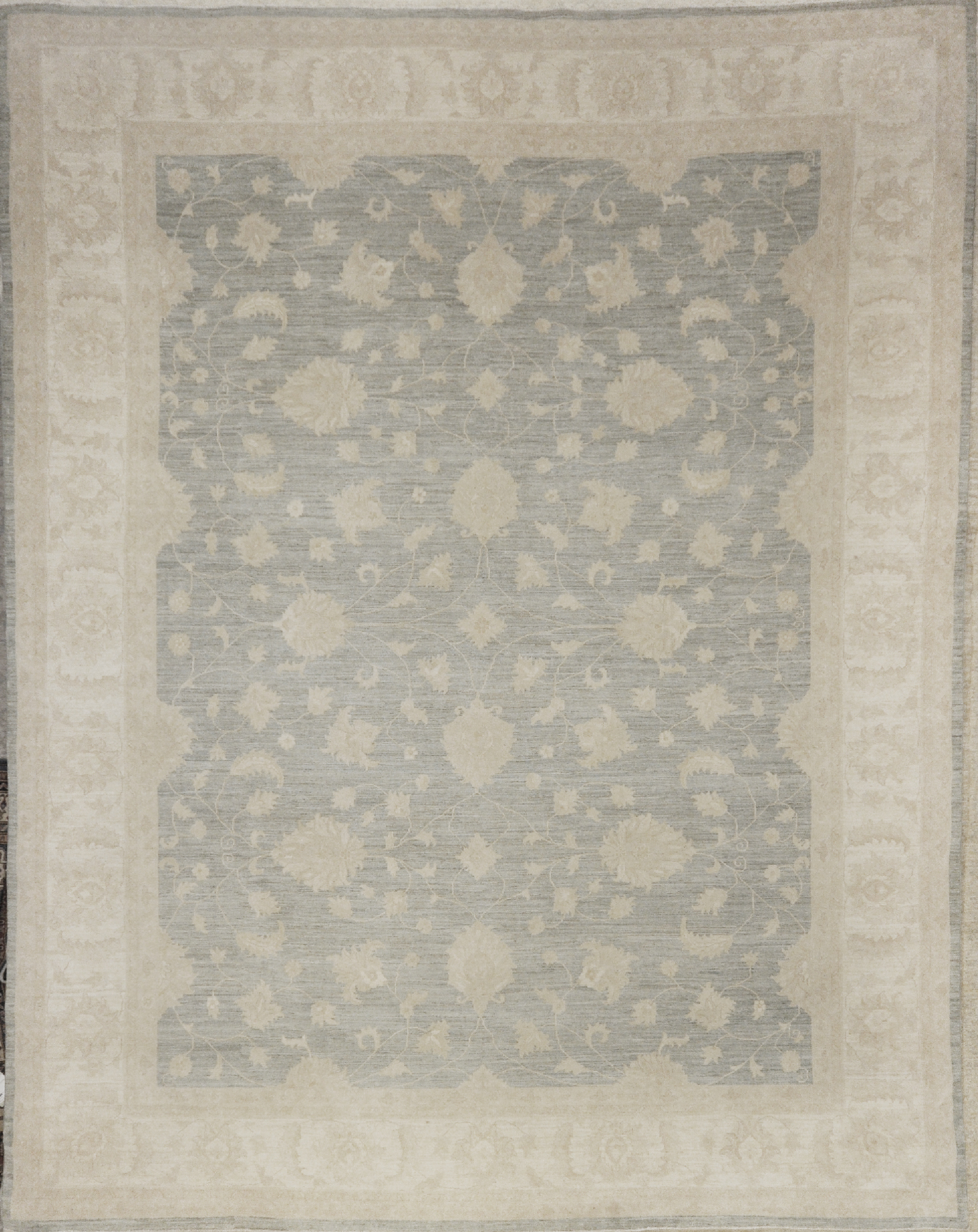 Fine Ziegler Oushak Rug with soft blue grey santa barbara wool rug carpet all over design hand knotted natural organic dyes