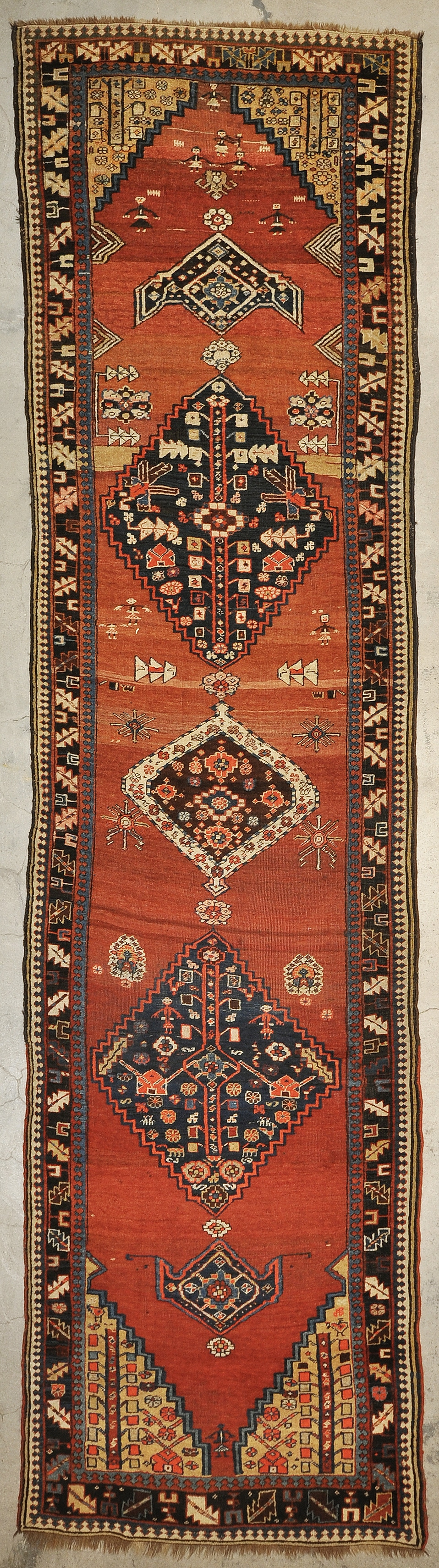 Antique Wedding Bijar Runner Rug