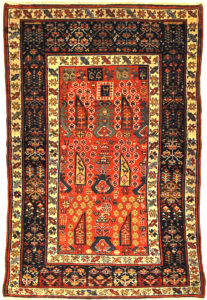 Proto Shahsavan Soj-Bolagh rug ca. 1800 in perfect condition. Classical Tribal art from Kourosh Collection. World class tribal rug at its best.