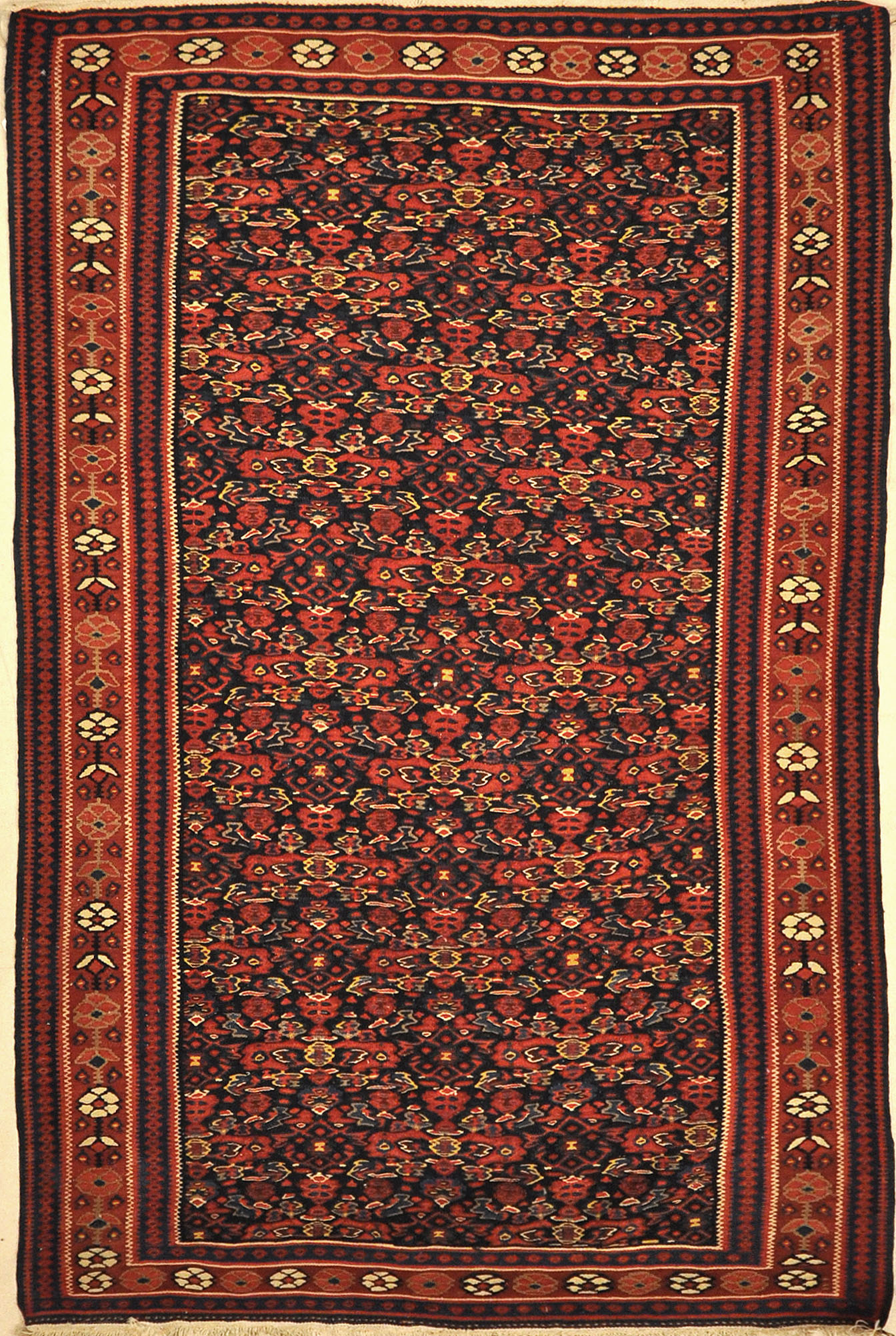 Antique Bijar Kelim Rug. A piece of genuine authentic woven carpet art sold by Santa Barbara Design Center, Rugs and More.