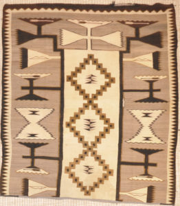 Rare Antique Navajo with Interesting Pattern. An antique tribal woven carpet art sold by Santa Barbara Design Center, Rugs and More in Santa Barbara, CA.