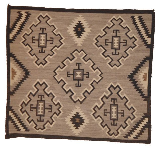 Grey Navajo Rug. An original, tribal and antique piece of woven carpet art sold by Santa Barbara Design Center, Rugs and More in Santa Barbara, California.
