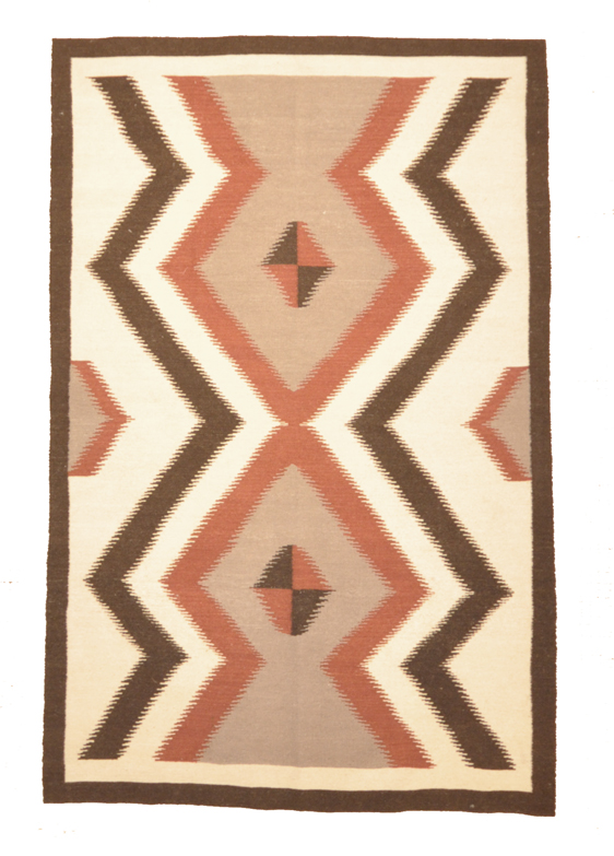 Antique Navajo Rug with Hill Design. A piece of genuine antique tribal carpet art sold by Santa Barbara Design Center, Rugs and More in Santa Barbara, CA.