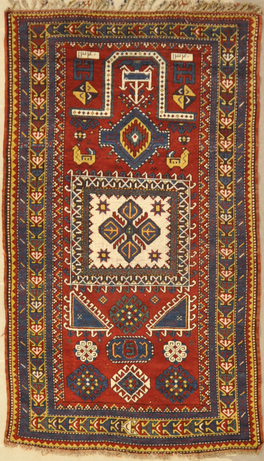 Antique kazak rugs prayer caucasian Santa barbara design center