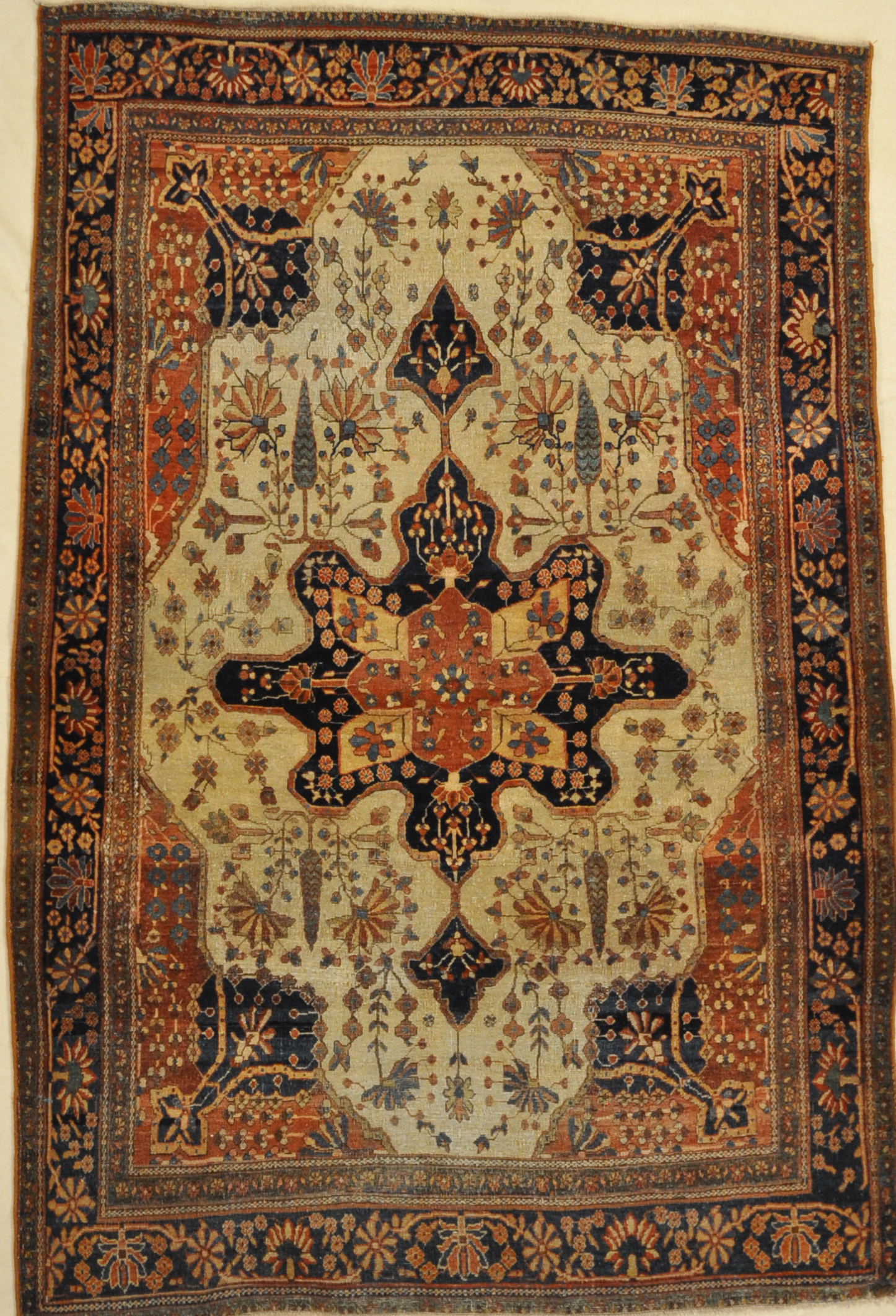 Antique Farahan Rug. A piece of woven carpet art sold by the Santa Barbara Design Center, Rugs and More in Santa Barbara, California.