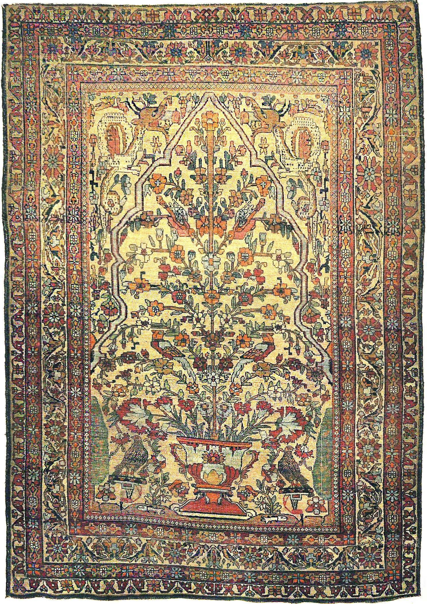 Antique Kermanshah Tree of Life with Mythical Animals. Unique and beautiful with very detailed images of mythical animals. Santa Barbara Rugs and More