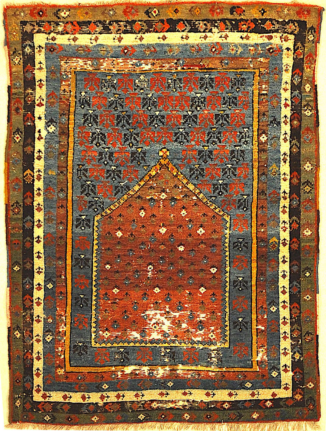 Antique Turkish Prayer Rug A piece of genuine, authentic woven carpet art sold by the Santa Barbara Design Center, Rugs and More.