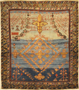 Rare Absolutely Unique Caucasian Shirvan Prayer Rug. A piece of genuine authentic woven carpet art sold at Santa Barbara Design Center Rugs and More.