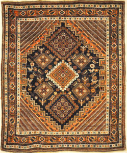 Antique Persian Afshar Rug Circa 1880. A piece of genuine authentic woven carpet art sold by Santa Barbara Design Center Rugs and More.