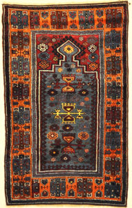 Antique Turkish Yuruk Rare Prayer Rug. A genuine authentic piece of woven carpet art sold at Santa Barbara Design Center Rugs and More.