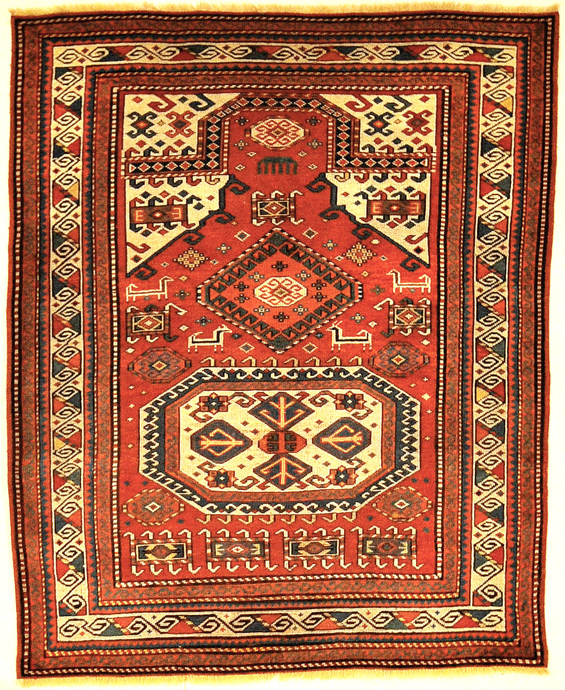 Finest Rare Museum Quality Caucasian Kazak Rug From the Early 19th Century. Genuine Woven Carpet Art. Santa Barbara Design Center Rugs and More.