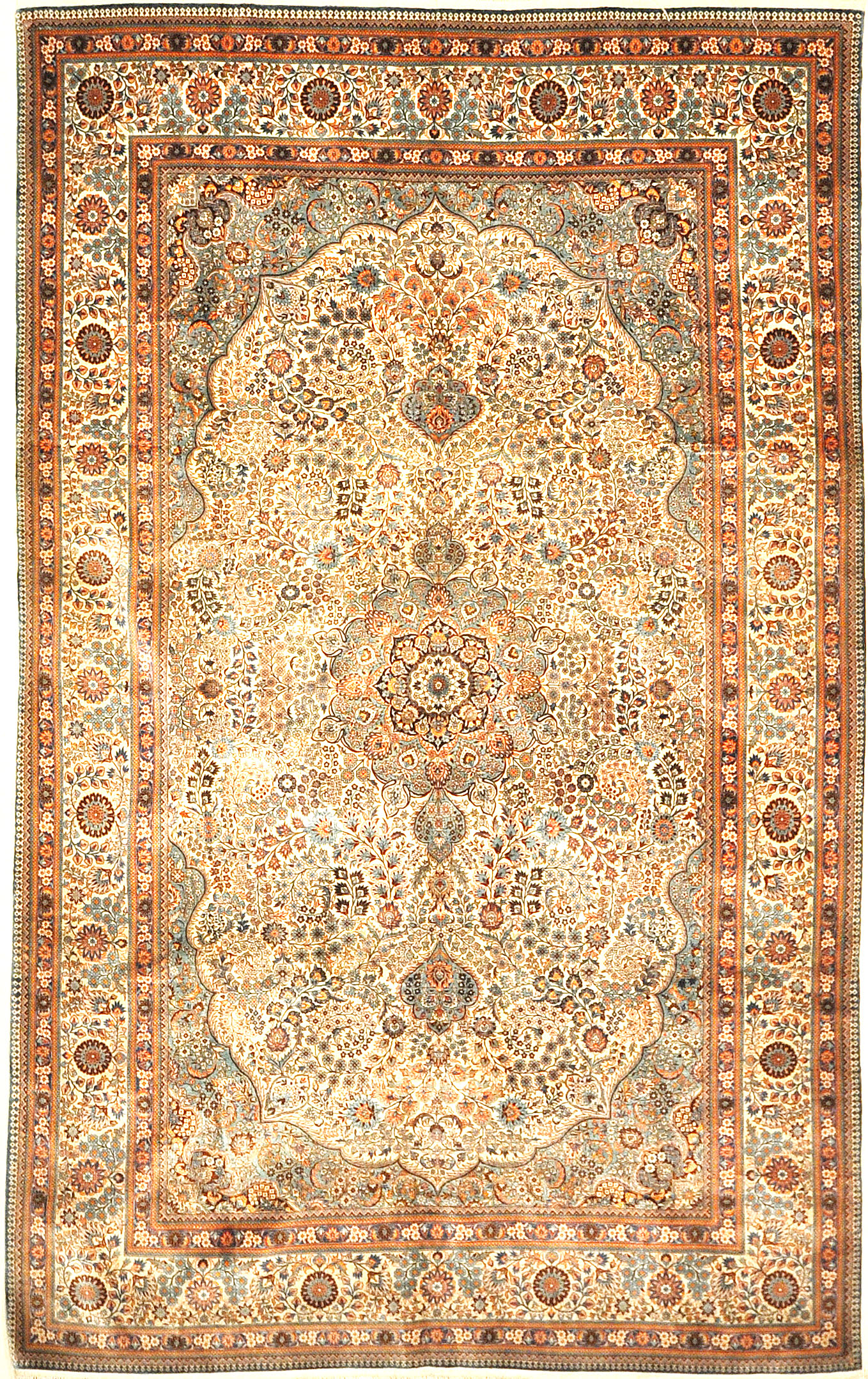 The finest antique finest silk rug in the world. A piece of genuine woven carpet art sold at Santa Barbara Design Center.