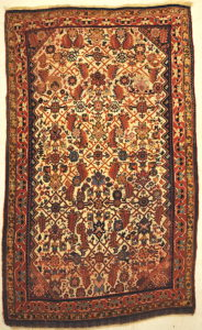 Rare Antique Qashqai with Ivory Background Persian Rug Genuine Woven Carpet Art Santa Barbara Design Center and Rugs and More