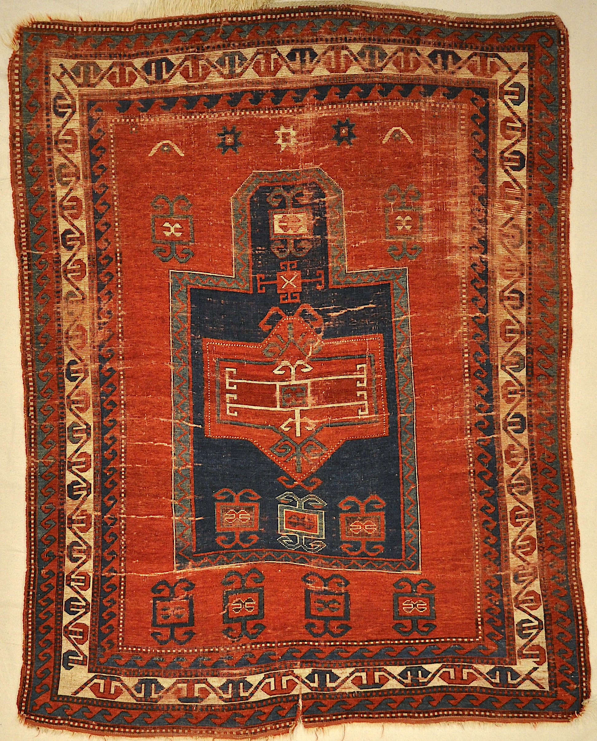 Antique Caucasian Fachralo Kazak Prayer Rug Authentic Genuine Woven Carpet Art Santa Barbara Design Center and Rugs and More