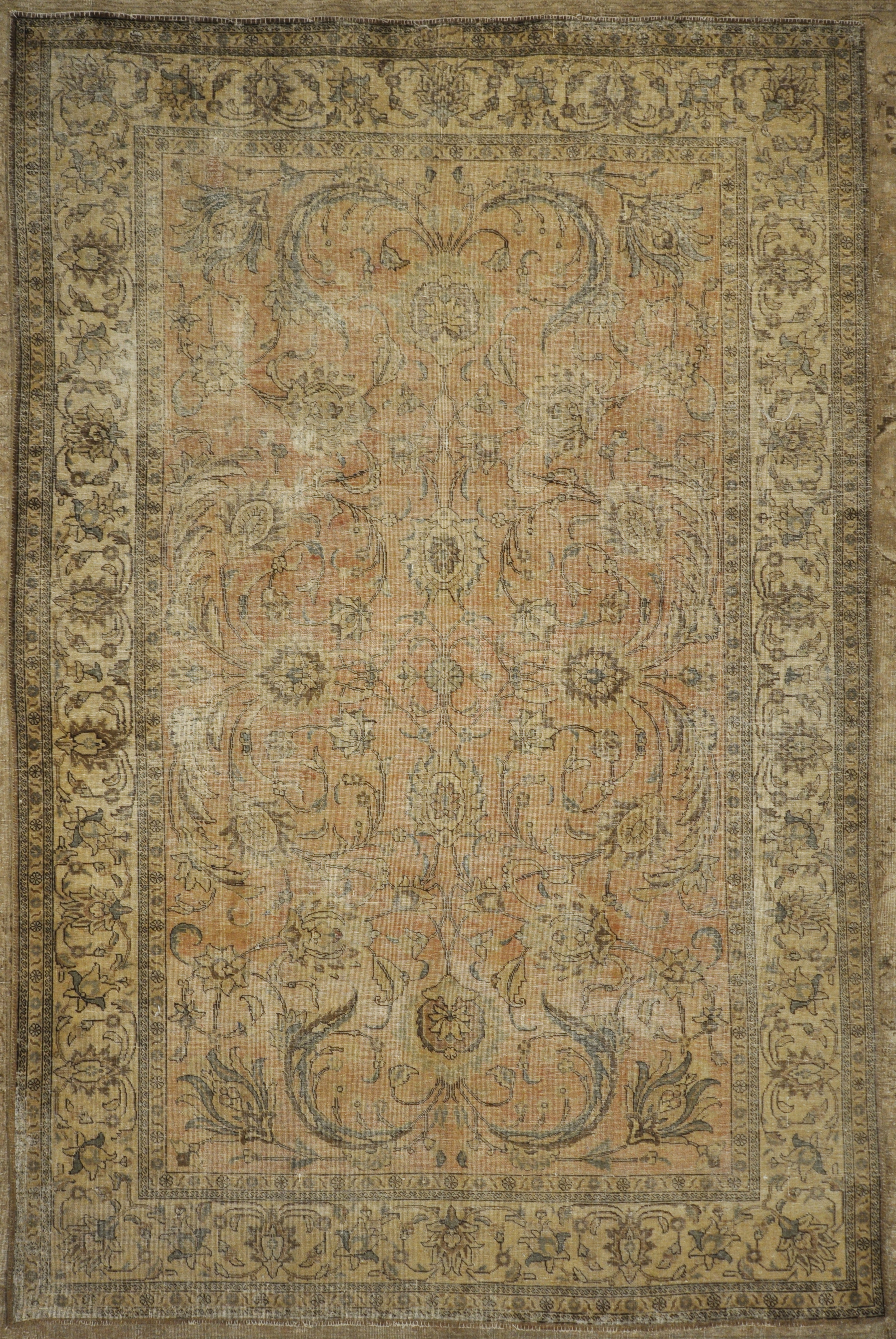 Antique Beige and Pink Persian Tabriz Genuine Authentic Intricate Woven Carpet Art Santa Barbara Design Center and Rugs and More
