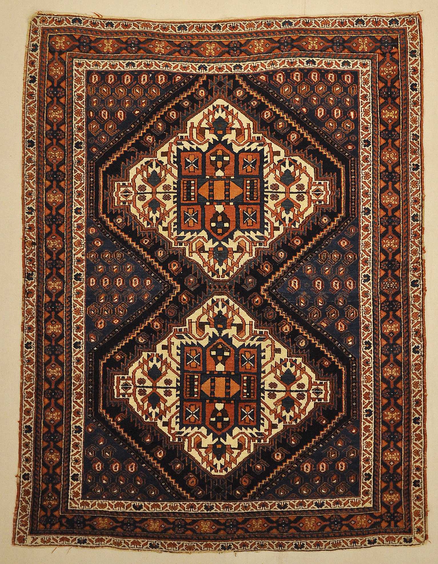 Antique Persian Afshar Medallion Botteh Genuine Woven Carpet Art Authentic Intricate Santa Barbara Design Center Rugs and More