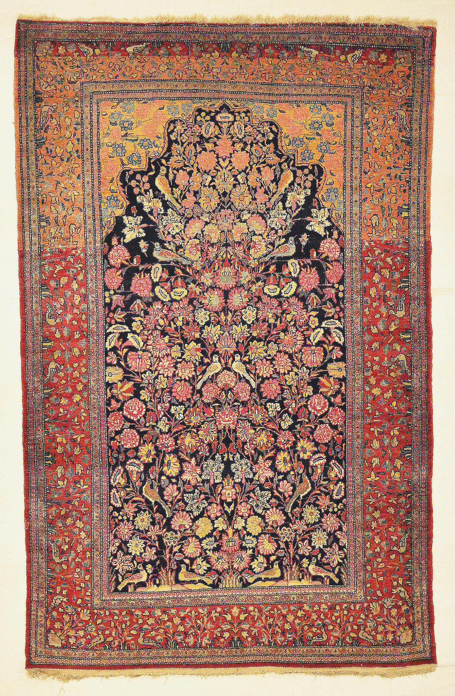 Antique Dabir Kashan Tree of Life Rug. The finest hand-knotted and natural dyed fibers. Tree of life. Rugs & More Santa Barbara Design Center