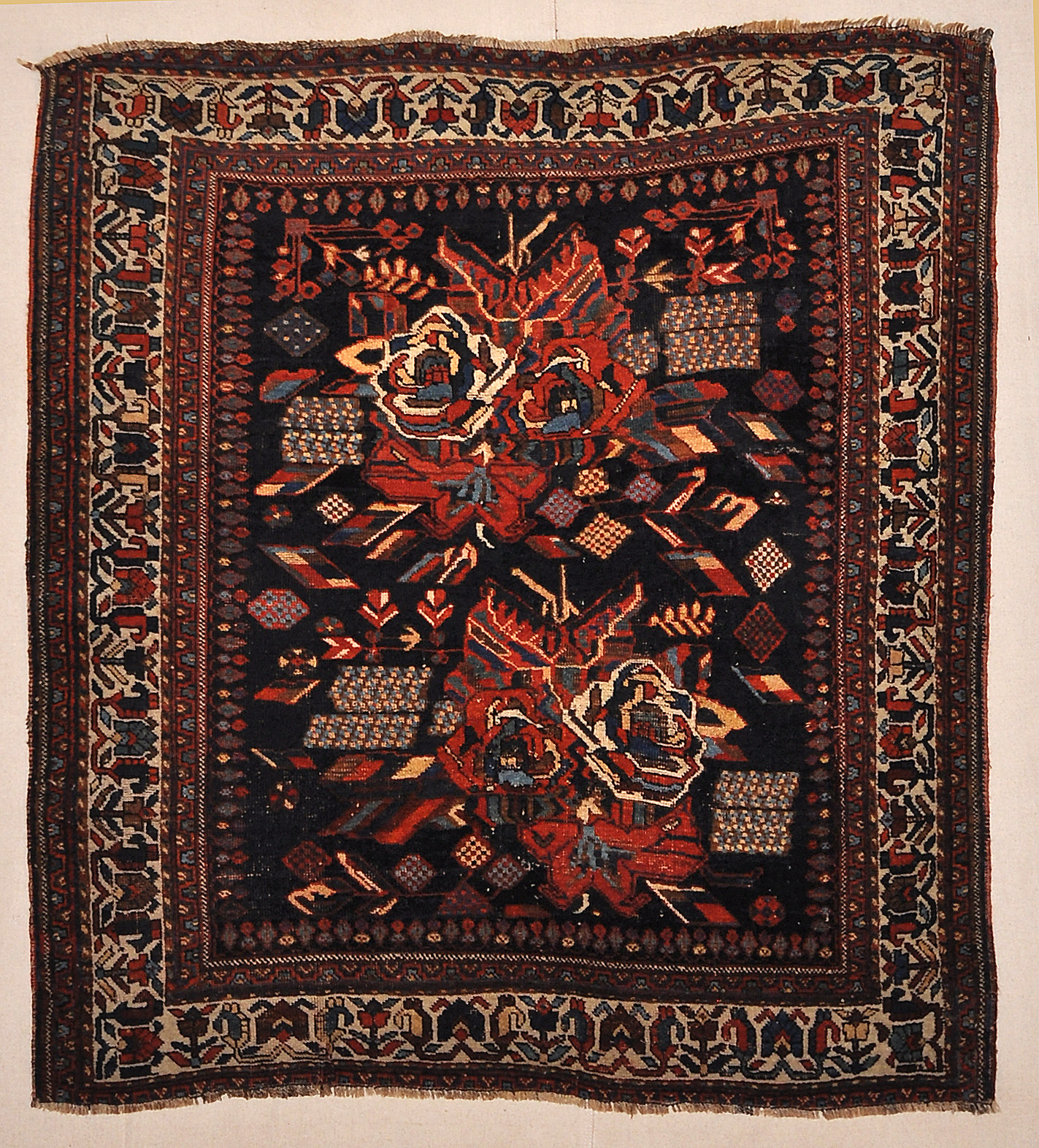 Antique Afshar Persian French Flowers Rug Authentic Genuine Intricate Woven Carpet Art Santa Barbara Design Center Rugs and More