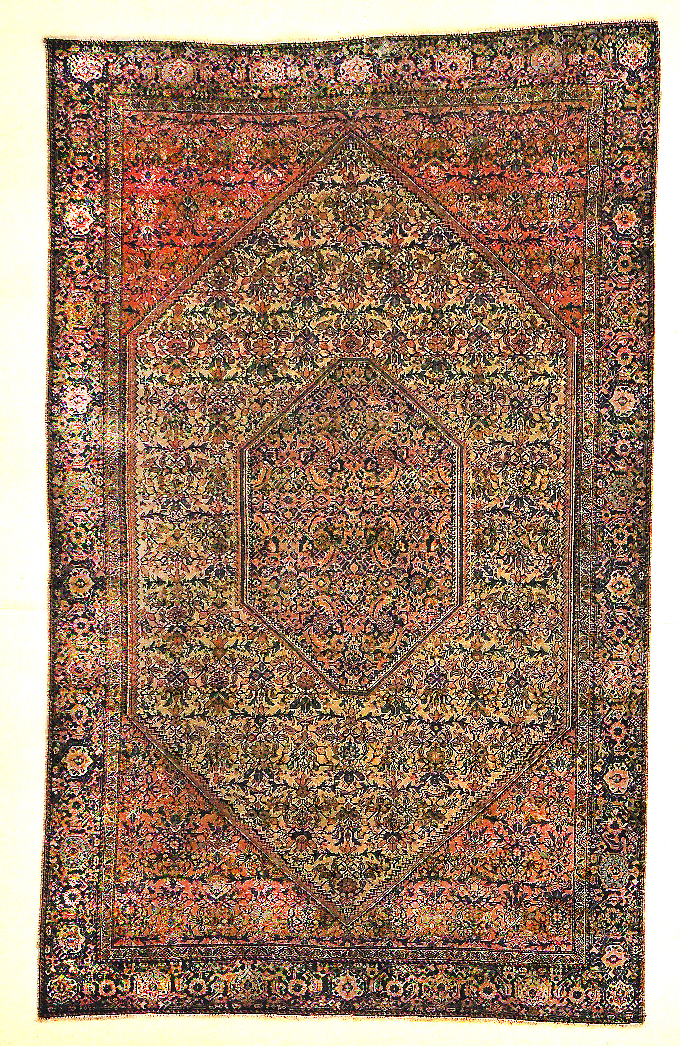 Antique Sarouk Farahan with Medallion and Ivory Pink and Red Detail Genuine Authentic Woven Carpet Art Santa Barbara Design Center