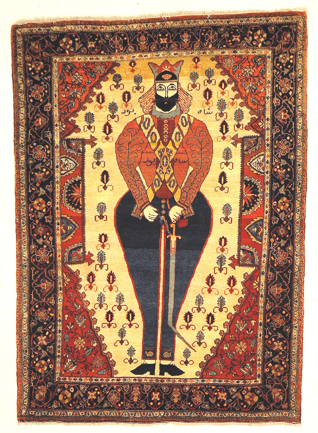 Antique Sarouk Farahan Very Rare Shahpour Figure Genuine Handmade Woven Carpet Art Natural Dyed Wool Santa Barbara Design Center