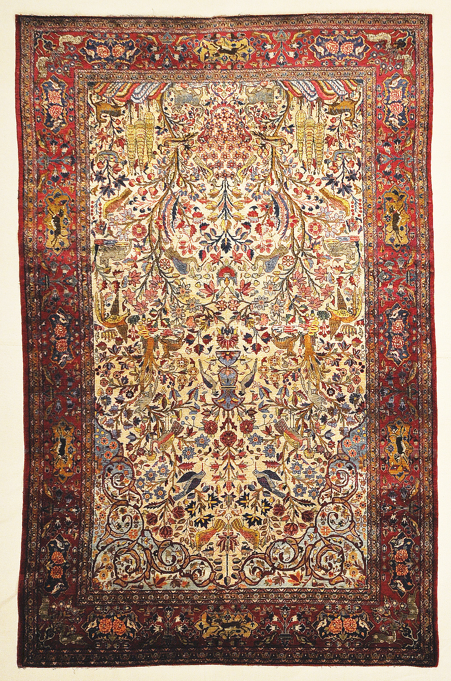 Fine Antique Silk Persian Kashan Tree Of Life Rug