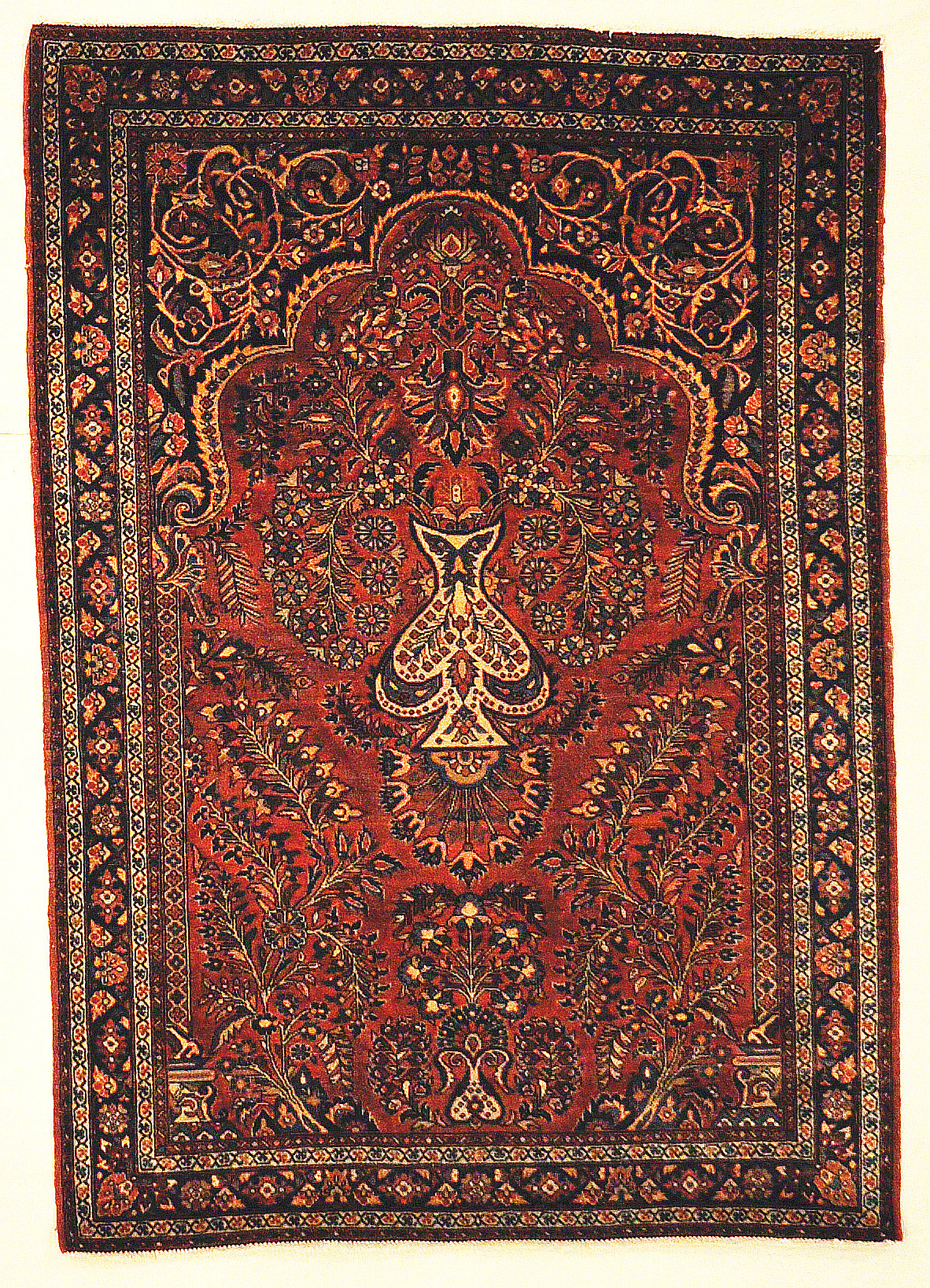Antique Rare Persian Sarouk Prayer Rug. Genuine woven carpet art. Authentic and intricate design.