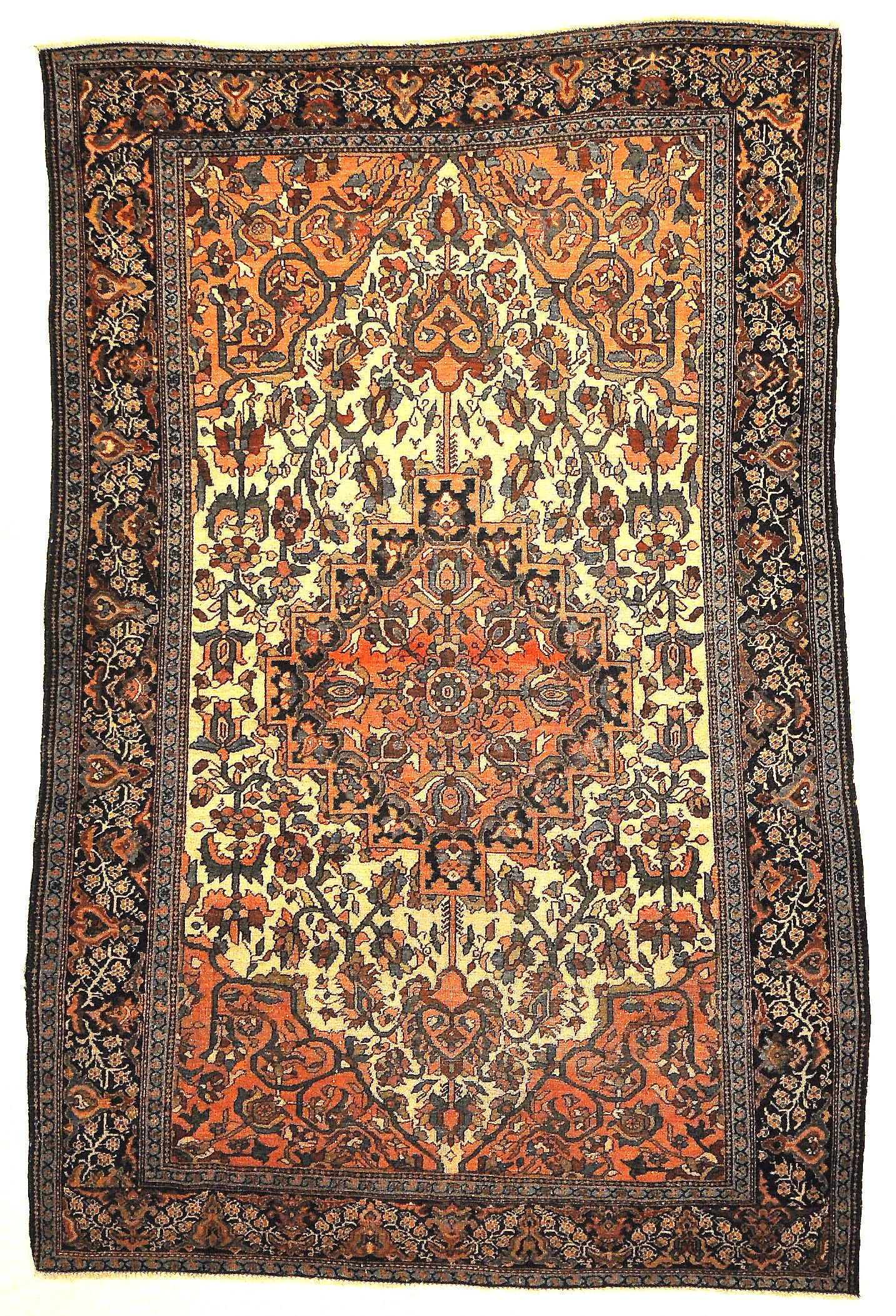 Antique 19th Century Village Persian Farahan Genuine Woven Carpet Art Authentic Intricate