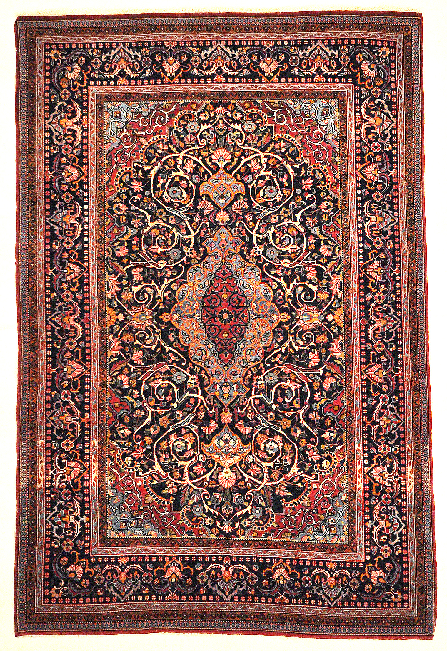 Antique Persian Kashan with Flower Medallion