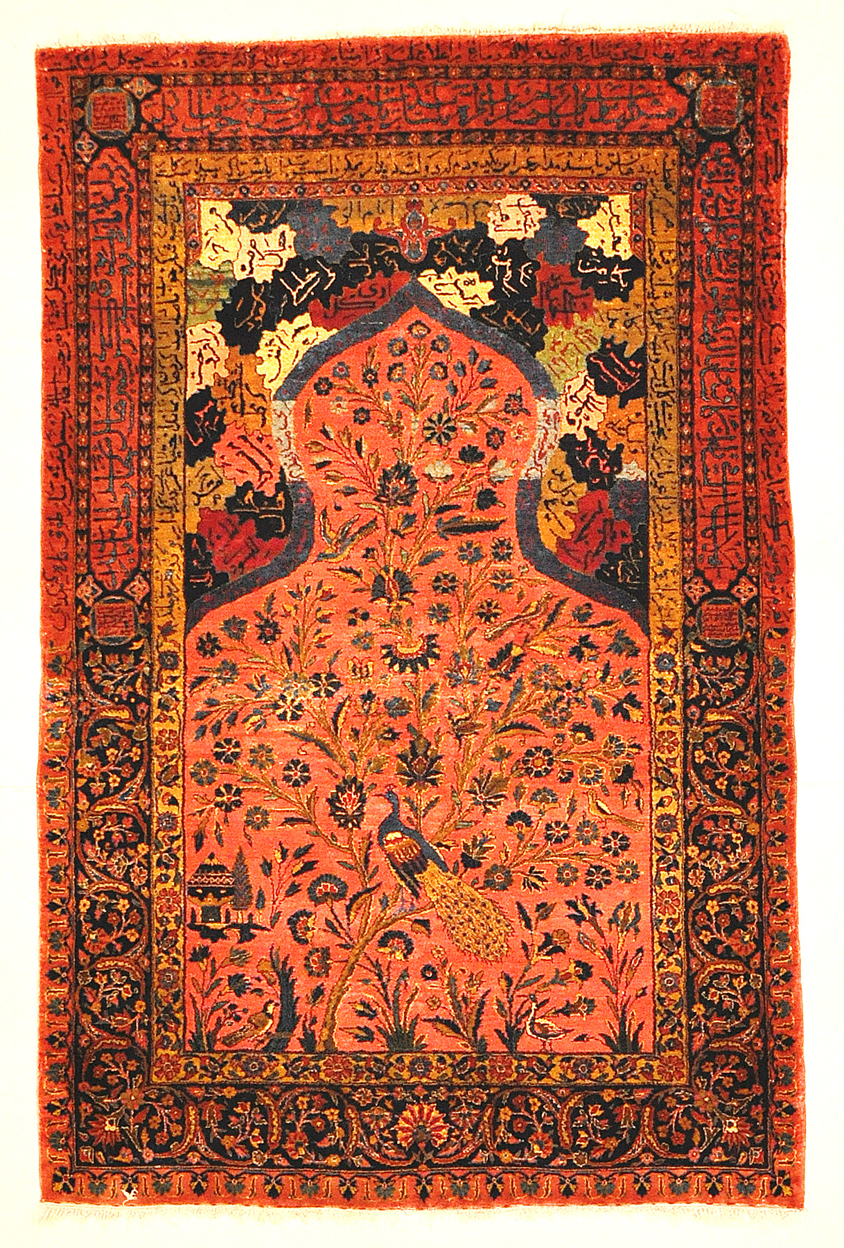 Antique Sultan's Head Silk Meditation Rug: Garden Of Paradise Genuine Woven Carpet Art
