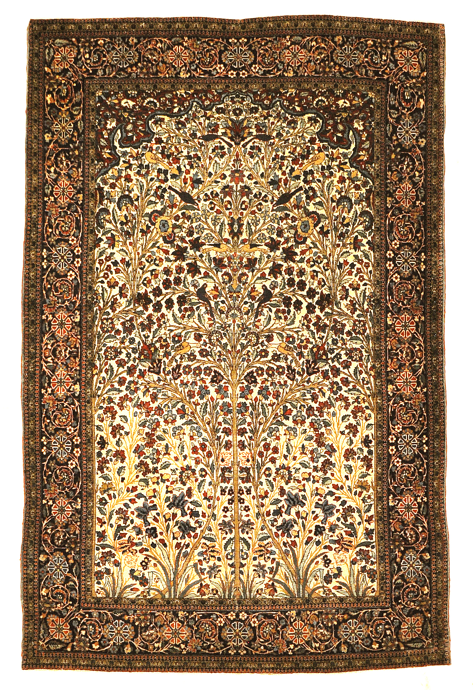 Antique Persian Mohtasham Kashan Tree Of Life Rug