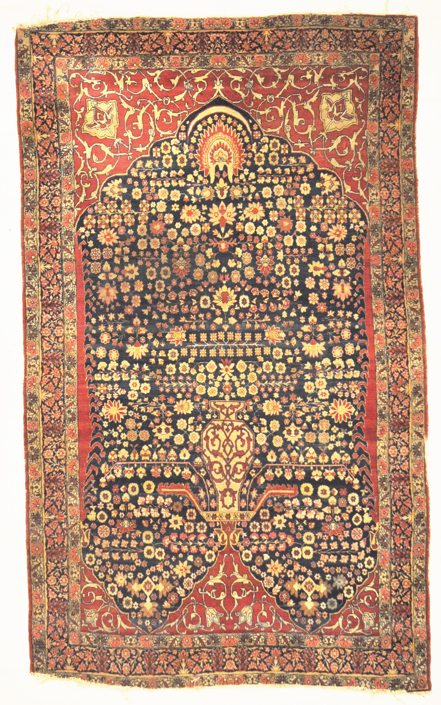 Antique Persian Kerman Ravar Rug: 1001 Flowers