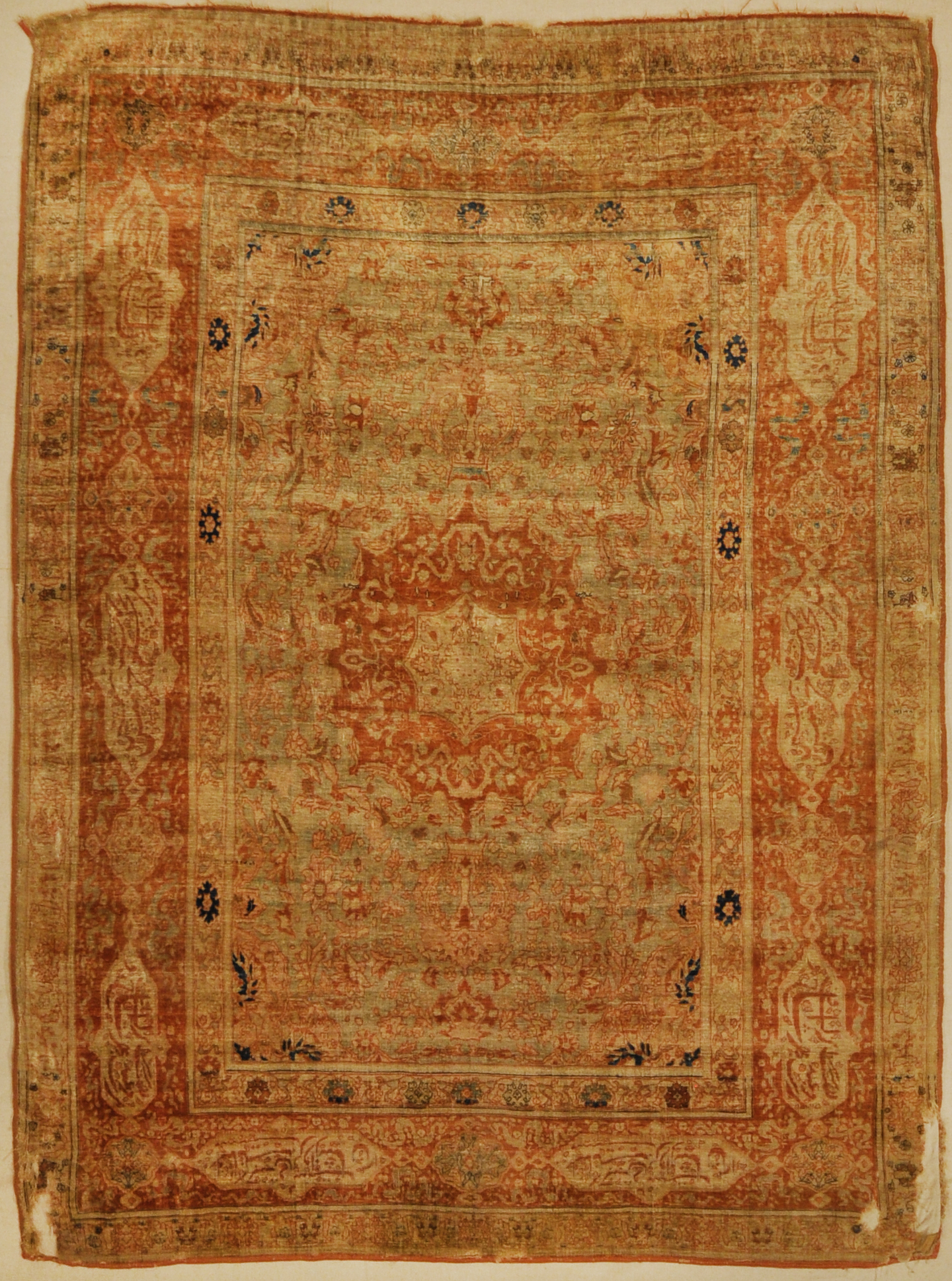 Rare 1800s Classical Silk Tabriz from Northwest Persia. Handmade in Persia. Antique rug sold by Santa Barbara Design Center.
