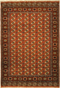 Persian Turkomen with Silk Foundation. A piece of genuine authentic woven carpet art sold by the Santa Barbara Design Center, Rugs and More.