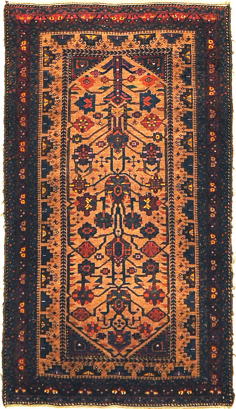 Antique Original Beluch Prayer Rug. A piece of genuine woven carpet art sold by Santa Barbara Design Center, Rugs and More.
