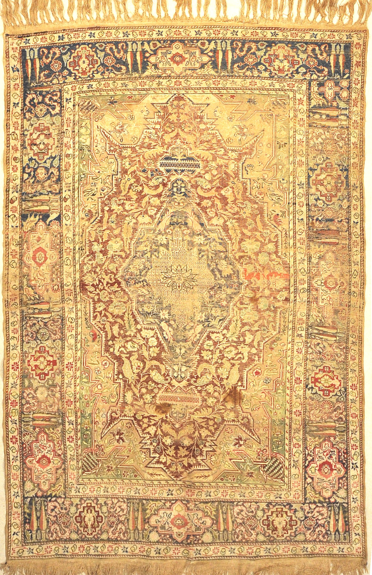 Antique Silk Turkish Kaysari Rug. A piece of genuine, woven carpet art sold by the Santa Barbara Design Center, Rugs and More.