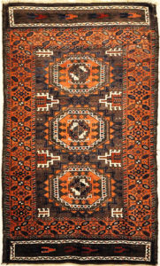 Antique Original Baluch with 3 Medallions and Unique Knotted Ends. An Afghan piece of original genuine woven carpet art sold by Santa Barbara Design Center.