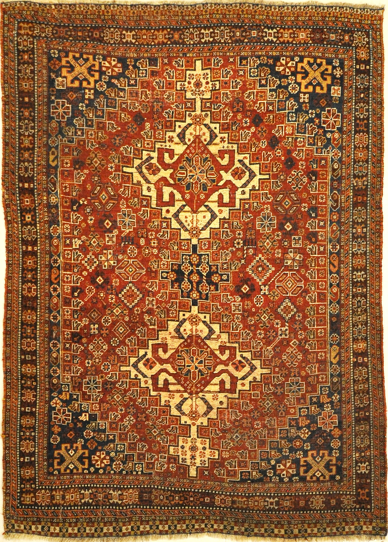 Antique Persian Qashqai Rug. A piece of genuine woven carpet art sold by the Santa Barbara Design Center, Rugs and More in Santa Barbara, California.