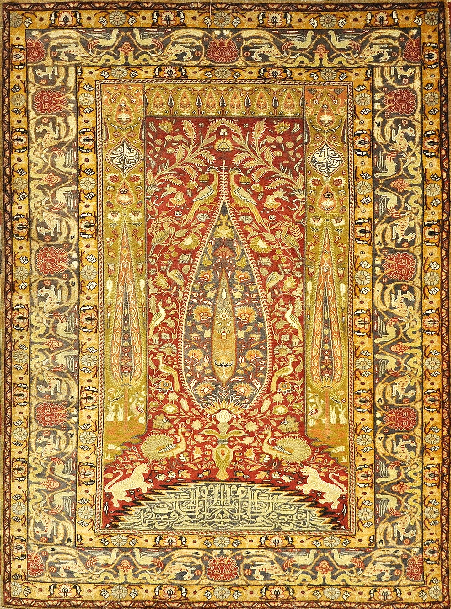 Fine Antique Kayseri Enscribed Tree of Life with Mythical Animals. A piece of authentic woven carpet art sold by Santa Barbara Design Center, Rugs and More.