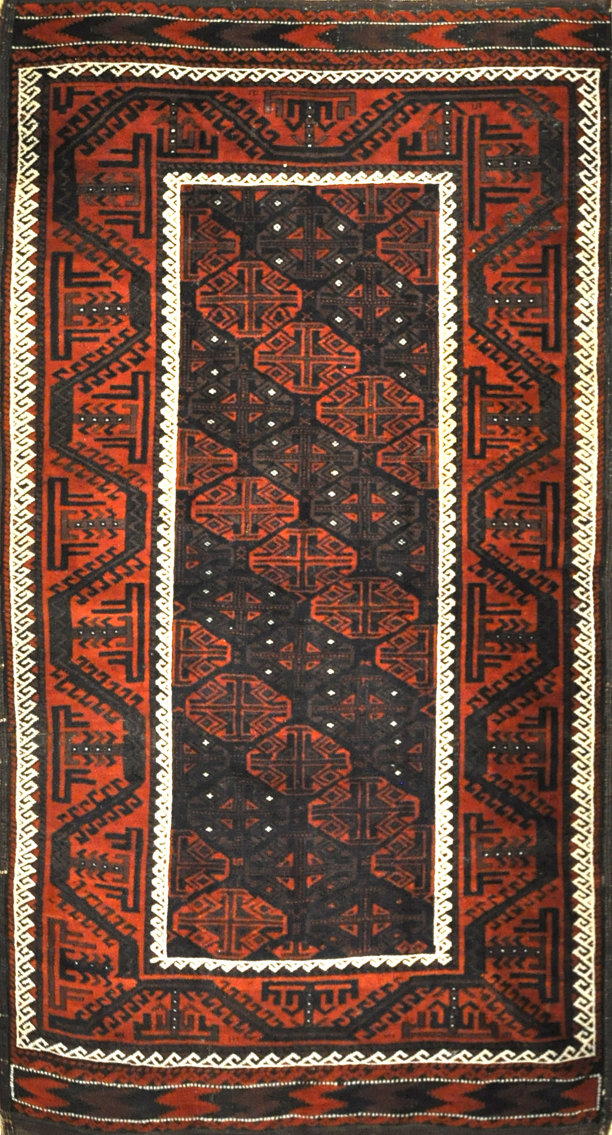 Antique Original Afghani Beluch Circa 1900. A piece of genuine woven carpet art sold by the Santa Barbara Design Center, Rugs and More.