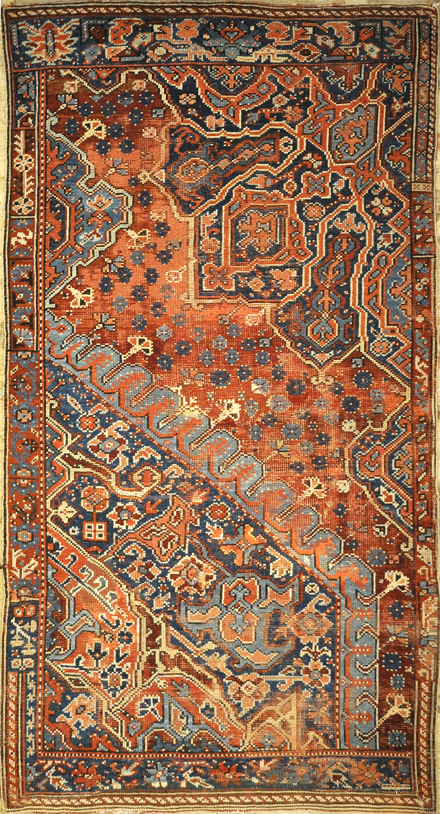 Rare Antique Sampler Oushak from 17th Century. A piece of genuine authentic woven carpet art sold by Santa Barbara Design Center, Rugs and More.