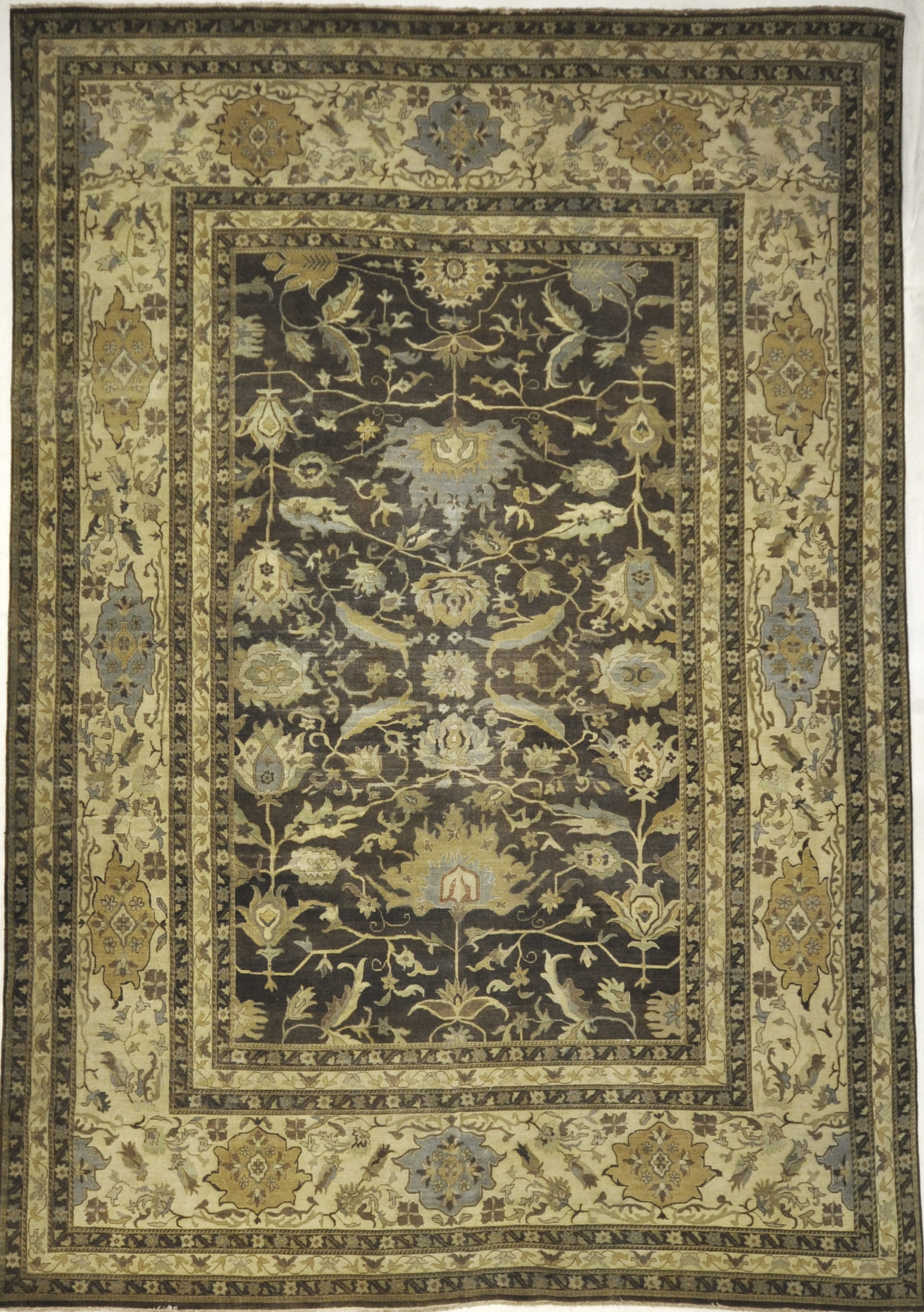 Antique Larestan Ivory Rug