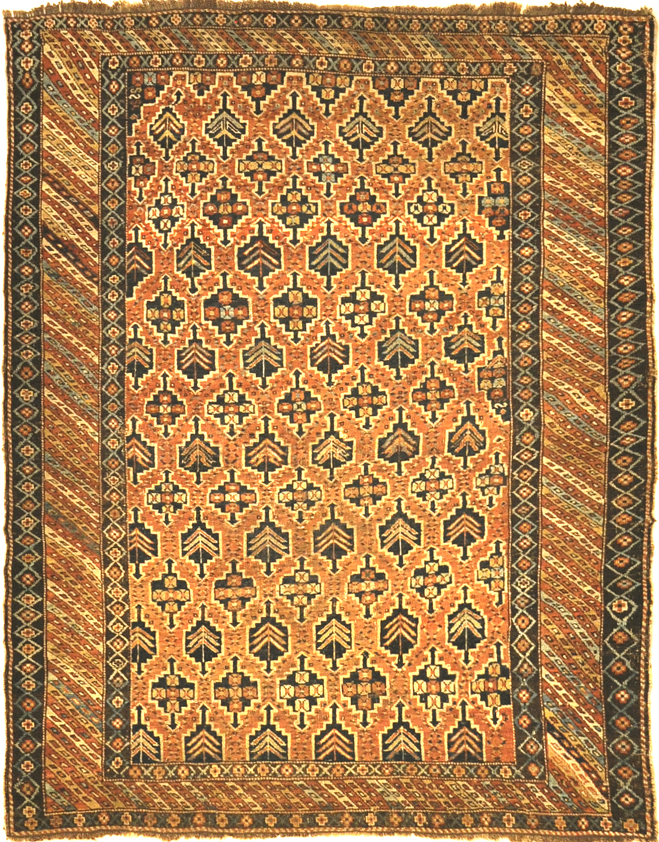Antique Kuba Rug. A piece of genuine authentic woven antique carpet art sold by Santa Barbara Design Center, Rugs and More.