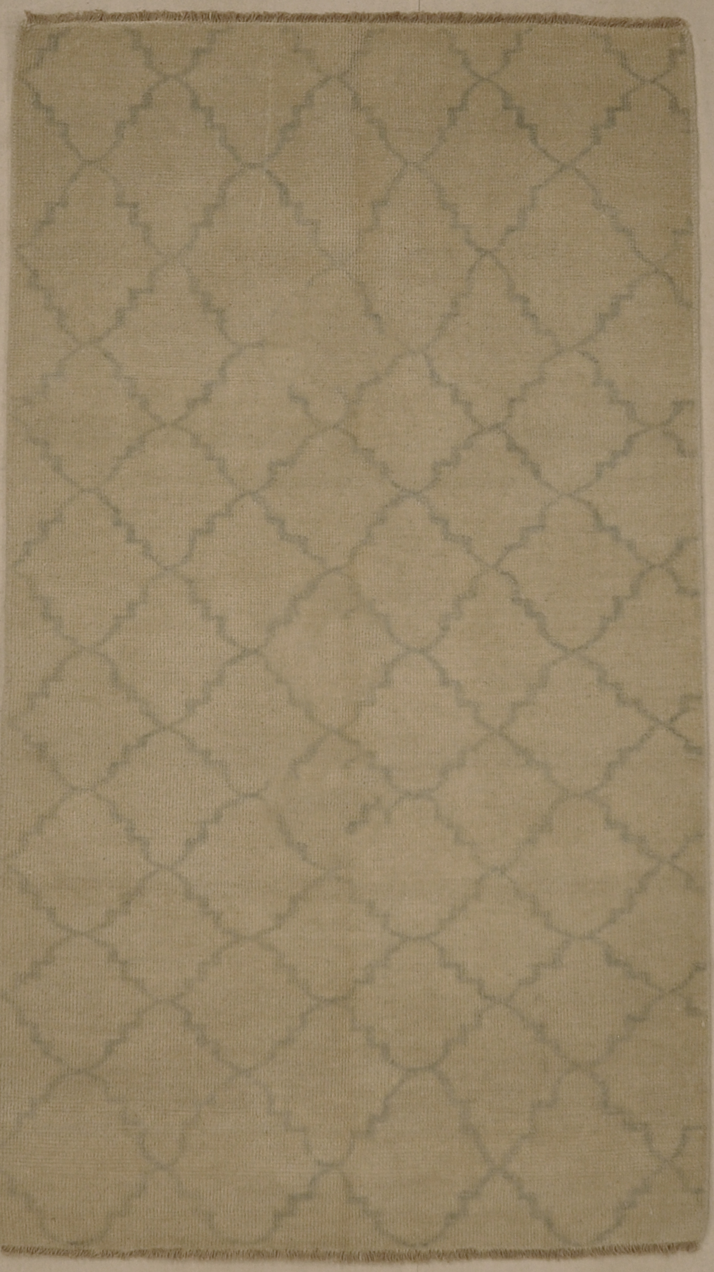 Blue and Beige Fine Modern Trellised Rug. A piece of genuine woven carpet art sold by the Santa Barbara Design Company, Rugs and More.