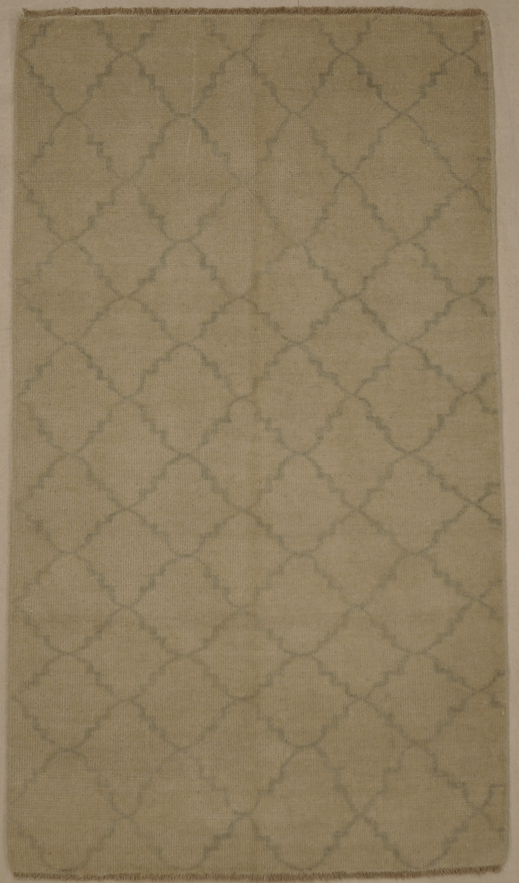 Fine Modern Blue and Beige Trellises Rug. A piece of woven authentic carpet art sold by Santa Barbara Design Center, Rugs and More.