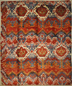Indian Saree Silk Red Patterned Rug. A piece of genuine authentic woven carpet art sold by Santa Barbara Design Center, Rugs and More.