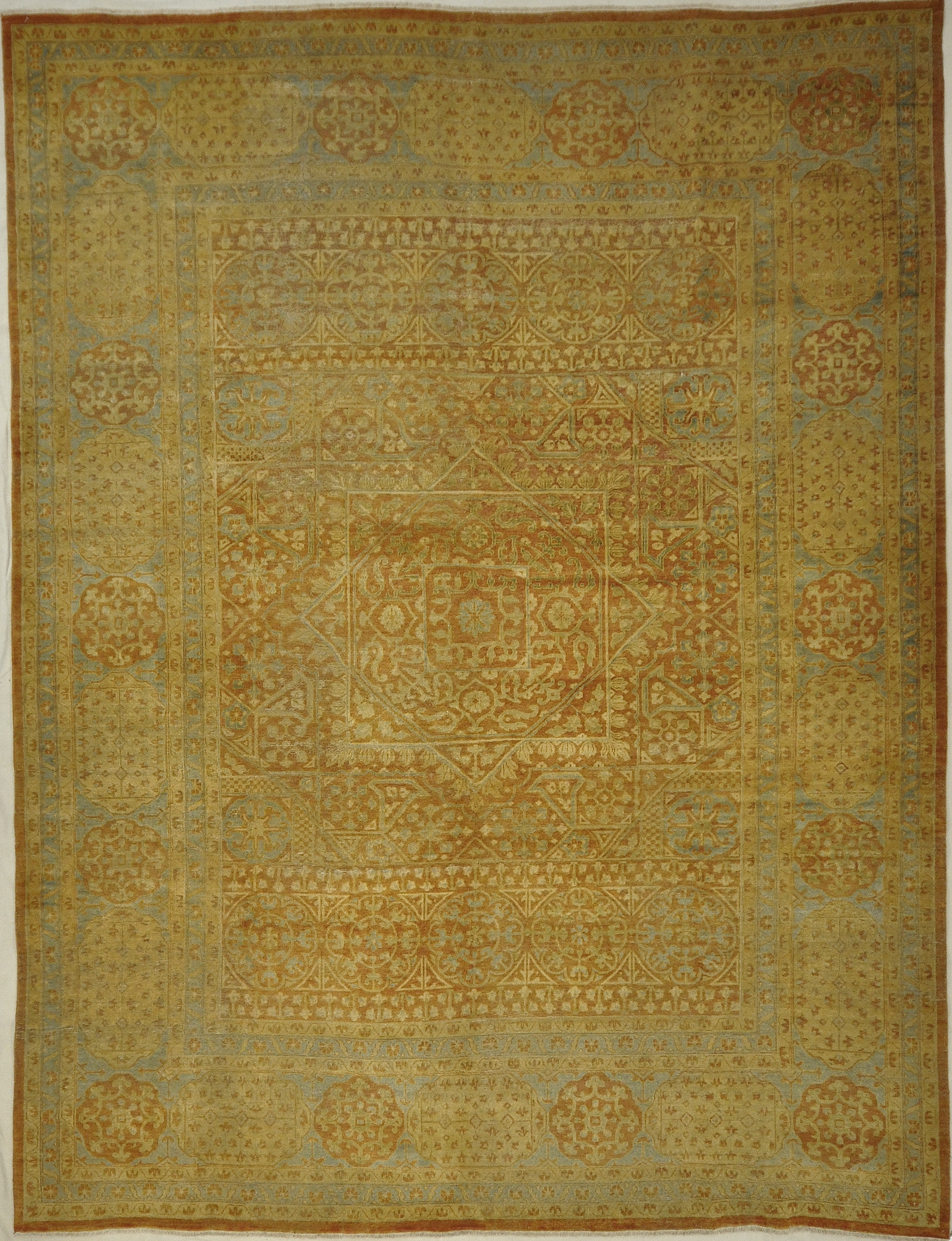 Antique Light Blue and Terra Mamluk Rug. A piece of genuine woven carpet art sold by the Santa Barbara Design Center, Rugs and More.